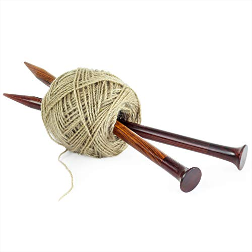 """Nagina International US Size 19-12"""" Rosewood & Maple Crafted Premium Yarn Knitting Needles 