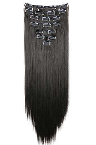 PRETTYSHOP XXL 50cm 8 Teile Set CLIP IN EXTENSIONS Haarverlängerung Haarteil Glatt Dunkelbraun CES102