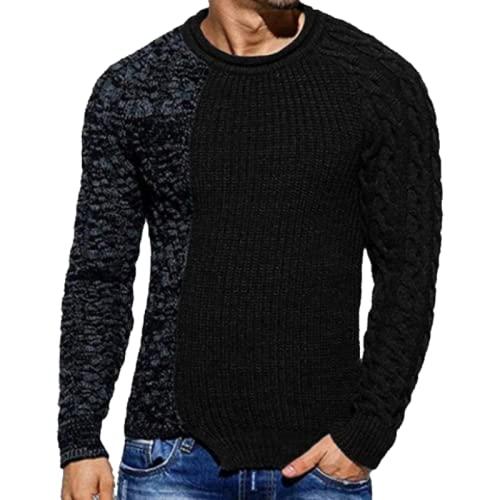Jersey para Hombre, suéter, Cuello Redondo, Manga Larga, Moda, Costura, impresión, Bloque de Color, Tejido de Cable, tamaño Grande XXL