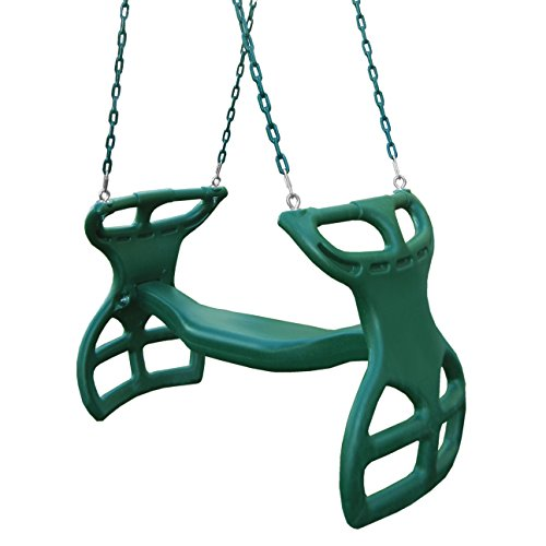 """Swing-N-Slide WS 3452 Heavy Duty Two Person Dual Glider Swing, with Coated Chains to Prevent Pinching, 18"""" W x 25 in H x 40"""" L, Green"""