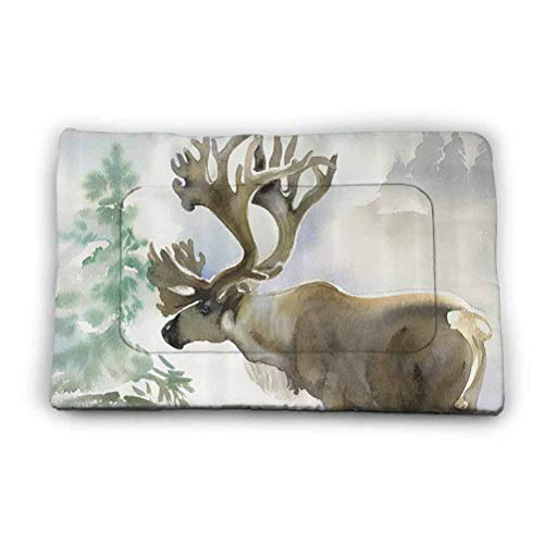 Ahuimin Outdoor Dog Bed Moose in Winter Forest Wildlife Reindeer Christmas Theme Watercolor Painting Style Art Washable Puppy Pads with Fast Absorbent 23' x 15.5' Beige Green