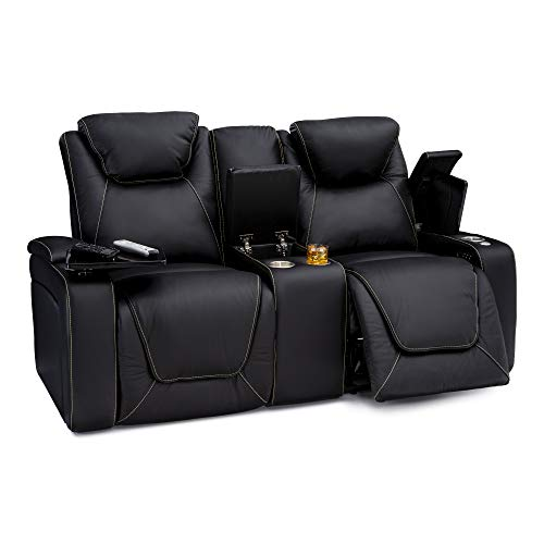 Seatcraft Vienna Home Theater Seating Leather Loveseat with Center Storage Console - Power Recline, Adjustable Headrest, Powered Lumbar Support, and Cup Holders (Loveseat, Black)