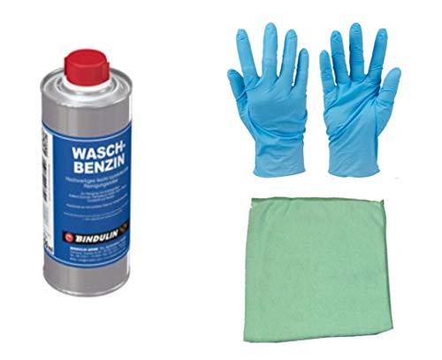 Waschbenzin Reinigungsbenzin leicht rückfettendes Reinigungsmittel zum entfetten inklusive Microfasertuch von E-Com24 (250 ml)