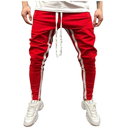 Geilisungren Track Pant Pantalones Deportivos para Hombre Jogger de Moda para Hombres, Pantalones Deportivos Deportivos Sueltos Ocasionales Sueltos Sweatpant Sweatpant Gym(Rojo,XL)