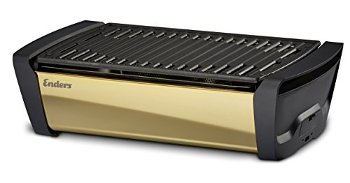 Enders® 1369 Aurora Mirror raucharmer Tischgrill, mit Guss-Grill-Rost, Holzkohle-Grill, Grill klein, Balkon-Grill, Picknick-Grill, Camping-Grill, rauchfreier Tischgrill, Grill mit Belüftung, gold