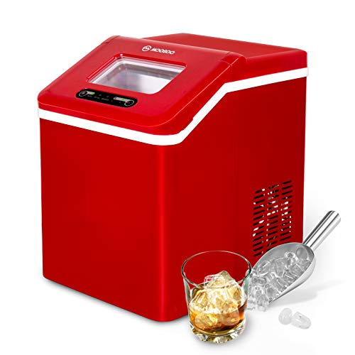 MOOSOO Ice Maker Countertop with Automatic Self-Cleaning, 12 Bullet Ice Cubes Ready in 9-11 Minutes, 40lbs/24H, 2 Types of Ice Size, Portable Ice Maker Machine with Basket & 2 Scoops