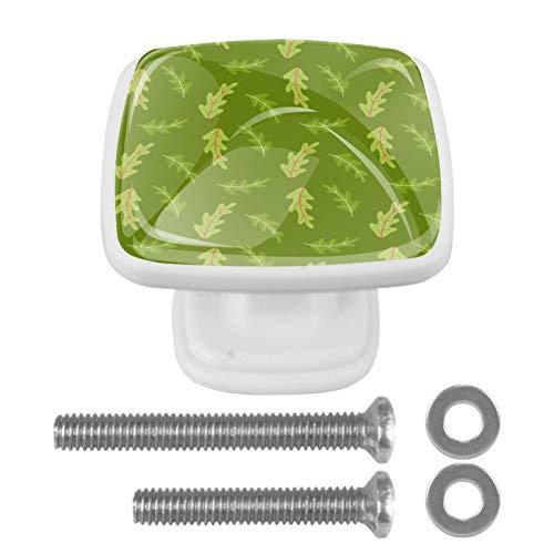 4 pomos de cristal para armarios y cajones, diseño de hojas de roble