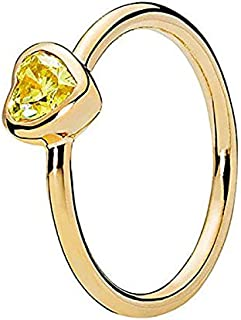 Pandora Women's Heart Shine ring with sunshine yellow cubic zirconia Ring