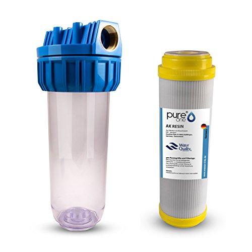 PureOne AKS1 Antikalk-Set. 1-Stufige Filteranlage. Wasser-Enthärtung bzw. Entkalkung. Filtergehäuse AntiKalk Resin Filterkartusche. Für Regenwasser, Brunnenwasser, Zisterne. 10 Zoll