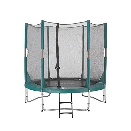 Etan Hi-Flyer Trampolino Elastico Bambini con rete - Ø 244 cm / 08 ft - incl. Rete di sicurezza - Tappeto Elastico da Giardino - Verde - rotondo