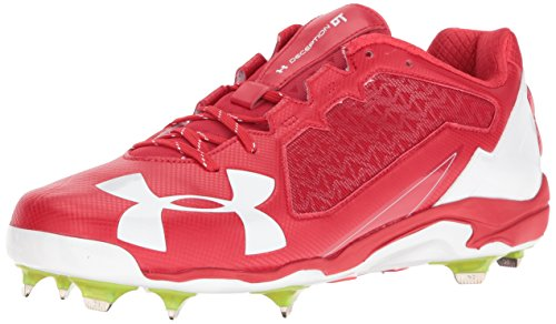 Under Armour Herren Men's Deception Low DiamondTips Baseball Cleats, Rot (611)/Weiß, 45.5 EU