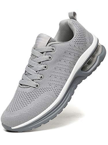 JIANKE Laufschuhe Damen Luftkissen Sportschuhe Leichte Atmungsaktiv Turnschuhe Fitness Gym Sneaker Straßenlaufschuhe Grau, 40 EU