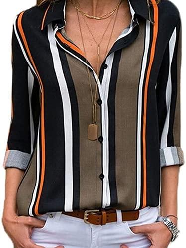 WyweiVera Chemise Femme Manche Longue Élégant Mousseline de Soie Blouse à Rayures Chemisier Grande Taille Casual Classique Chic Boutonné Cov V Tunique Tee Tops Hauts T-Shirts S-XXXL (M,D-Vert)