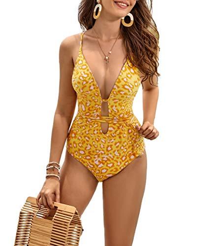 Women's 1 Piece Sexy Bathing Suit Criss Cross Tie Knot Front Swimsuit Deep V Open Back Swimwear (Lemon Leopard, Medium)