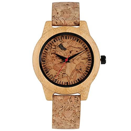 CAIDAI&YL Reloj de Pulsera de Corcho de Madera Relojes de Mujer únicos Regalos de Reloj Natural, Reloj de Madera de Mujer