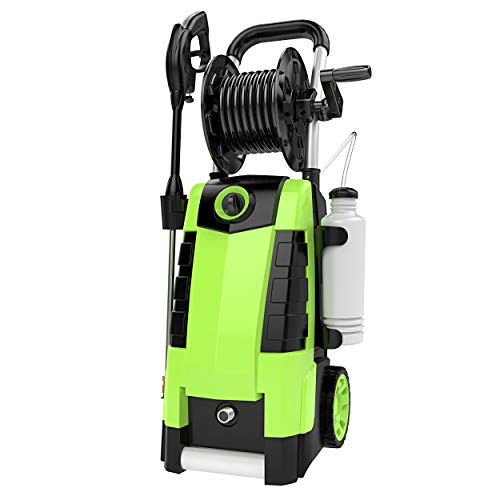 TEANDE 3800PSI Electric Pressure Washer, MAX 2.8GPM Electric Power Washer 1800W High Pressure Washer with Hose Reels MR3800 (Green)