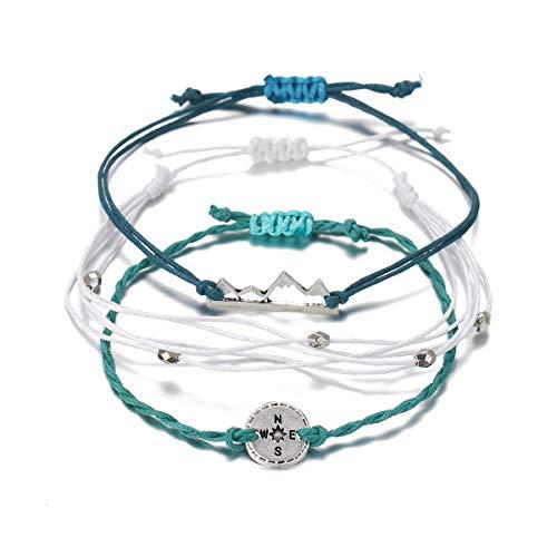 choice of all 3 Pcs Summer Surfer Wave Bracelet Adjustable Friendship Bracelet Handcrafted Jewelry Women (C:mountain)