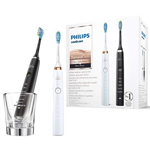 Philips Sonicare DiamondClean Elektrische Zahnbürste Doppelpack HX9392/40, 2 Schallzahnbürsten mit 5 Putzprogrammen und Ladeglas, rose-gold/schwarz
