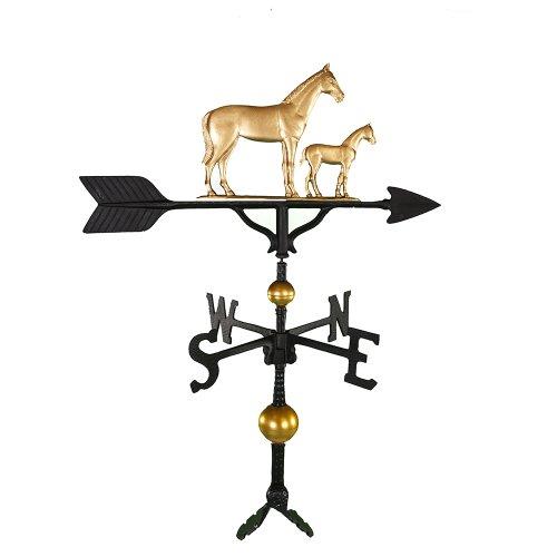 Montague Metal Products Wetterfahne mit Goldstute und Colt, 81 cm