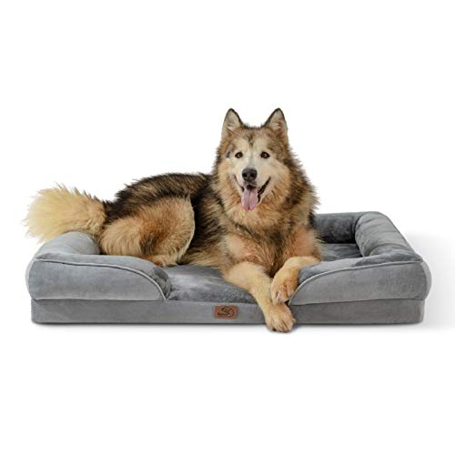 Bedsure Orthopedic Dog Bed, XL Bolster Dog Beds for Extra Large Dogs - Foam Sofa with Removable Washable Cover, Waterproof Lining and Nonskid Bottom Couch, Pet Bed