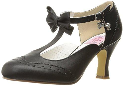 Pinup Couture Damen FLAPPER-11 Pumps, Schwarz (Blk Faux Leather), 43 EU