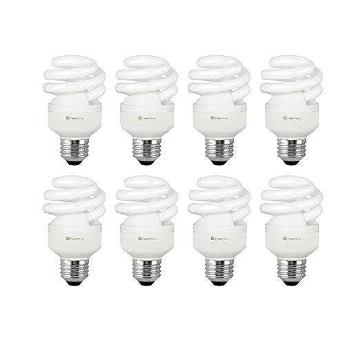 Compact Fluorescent Light Bulb T2 Spiral CFL, 2700k Soft White, 9W (40 Watt Equivalent), 540 Lumens, E26 Medium Base, 120V, UL Listed (Pack of 8)