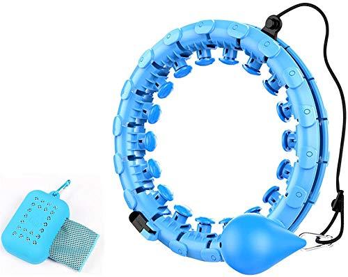 Smart Hula Hoops, Hullahub Reifen zum Abnehmen, Magic Hula Hoop Reifen Fitness zum Erwachsene Kinder,Einstellbar Hula-Hoop mit Massagenoppen und 24 Abnehmbare Teile+ Bringen Sie ein Sporttuch mit-Blue