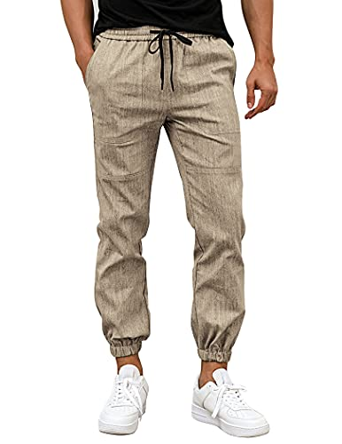 COOFANDY Freizeithosen für Herren, Baumwollhosen, elastische Hosen, lässige Yogahosen für den Außenbereich KH.L