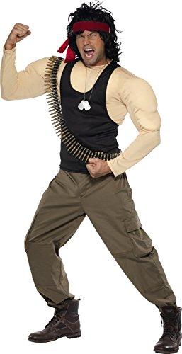 Smiffys, Herren Rambo Kostüm, Muskel-Oberteil, Hose, Perücke, Stirnband, Patronengürtel und Kette, Größe: M, 33158