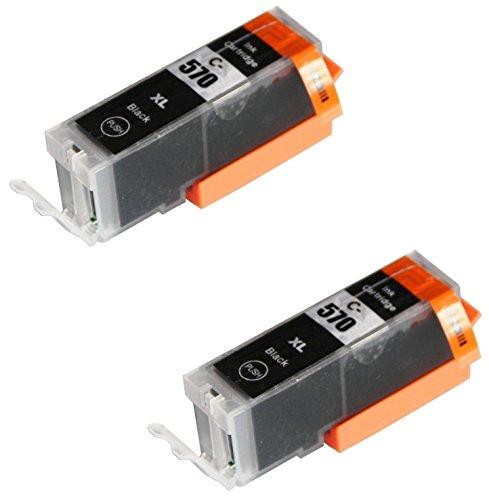 2 SCHWARZ Druckerpatronen für Canon Pixma MG5750 MG5751 MG6850 MG6851 MG7750 TS5050 TS6050 MG5752 MG5753 MG6852 MG6853 TS5051 TS5053 TS6051 TS6052 | kompatibel zu PGI-570PGBK XL