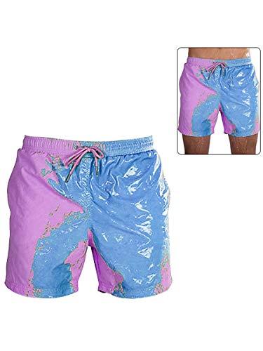 Bañador para hombre, secado rápido, bañador corto con forro de malla, color cambiante bañador Barracuda, bañador divertido traje de baño con bolsillos (M-3XL) azul/naranja/morado/verde Azul Blue1 M