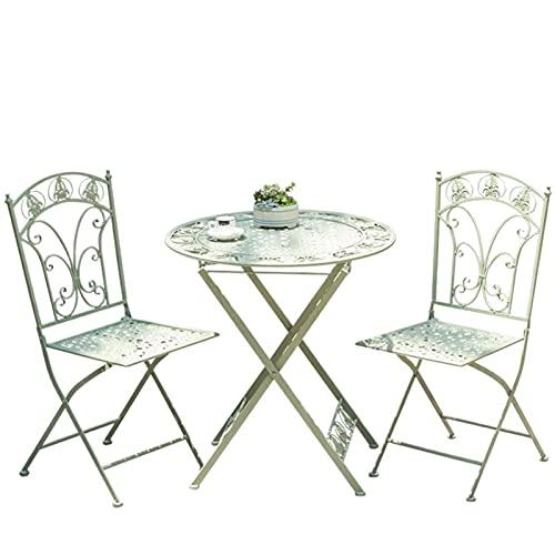 Juego de mesa y silla de balcón de tres piezas, juego de mesa y silla de jardín plegable de hierro forjado, juego de muebles de jardín portátil para patio, muebles de exterior de metal plegable