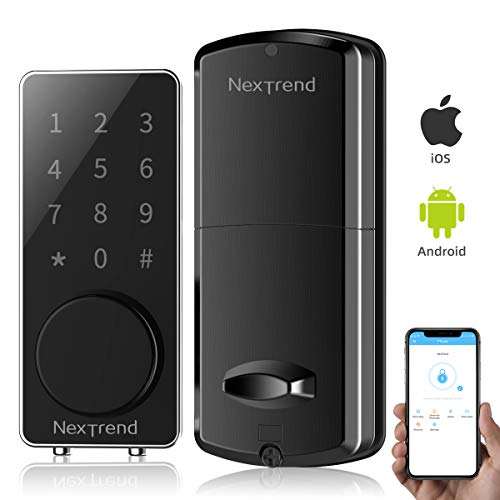 [New Arrive]Smart Bluetooth Lock, NexTrend Smart Deadbolt Door Lock Keyless, Touchscreen Keypad, Auto Lock, Send Ekeys, Free APP Monitoring, Easy to Install for Home, Hotel, Apartment, Black