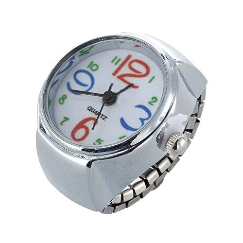 SODIAL(R) Orologio da Dito Anello al Quarzo Numeri Arabi Colorati Moda