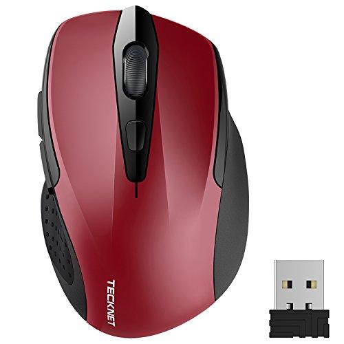 TECKNET Ratón Inalámbrico Portatil, 2.4G Mouse Inalámbrico Pro Óptico 5 Niveles 2600 dpi,6 Botones, 24 Meses Duración de Batería con Nano Receptor para Laptop,PC,Ordenador,Chromebook,Notebook