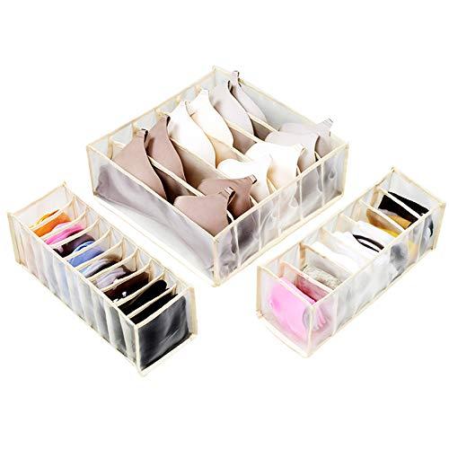 Unterwäsche Organizer, 3 Stück Unterwäsche Schublade Organizer Aufbewahrungsboxen Faltbare Nylon Schubladenfächer Box für BH, Socken, Krawatten, Schals, 6/7/11 Gitter Beige