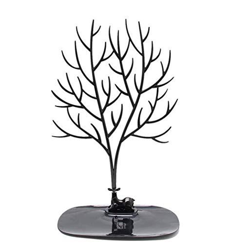 Organizador de soporte para árbol de joyería bandeja de exhibición de joyería Sika ciervos árbol joyería sostenedor para collares pulseras pendientes joyería soporte de almacenamiento (L, Negro)