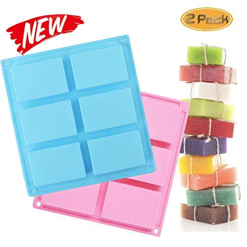 6-Cavity, silicone-zeep, rechthoekige siliconenvorm, zeepvorm, zeepvorm, bakje, pannen, cake, bakken, chocolade, biscuit, ijsblokjes, doe-het-zelf handwerk, 2 stuks