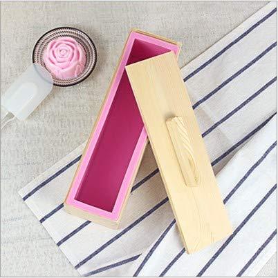 Hazmejor Siliconen zeepvorm – rechthoekige siliconenzeepvorm houten kist om zelf te maken bakken cake brood toastvorm