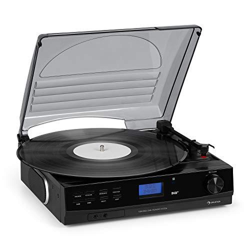 auna TT-186 Dab Tocadiscos - Radio Dab+/FM , Bluetooth , Tracción por Corea con 33/45 RPM , Entrada AUX , Salida de línea , Modo Reposo , Incluye Conector para Auriculares