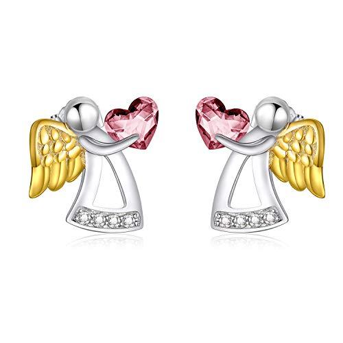 Orecchini per bambine in argento Sterling a forma di angelo custode, regalo di compleanno, battesimo, comunione, per ragazze, figlia e bambini e Argento, colore: rosa, cod. KYE0347