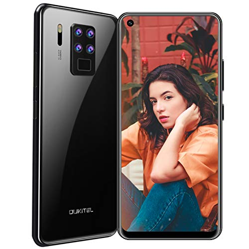 Mobile Phone Unlocked, OUKITEL C18 PRO smartphone Dual 4G, 6.55'' Display Wide-angle Macro Quad Camera, 4GB 64GB Octa-Core, Android 9.0,4000 mAh Fingerprint/Face ID,GPS,UK Version (BLACK)