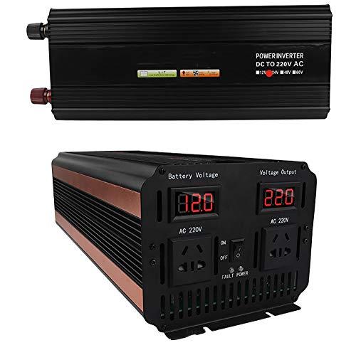 QJJML Kfz Wechselrichter,Dc-Ac Wechselrichter,LCD Intelligenter Digitaler Bildschirm,USB-Schnittstelle FüR Effizientes Laden,Intelligente KüHlung,FüR Mobile Computer Outdoor-Reisen Camping,12V-3000W