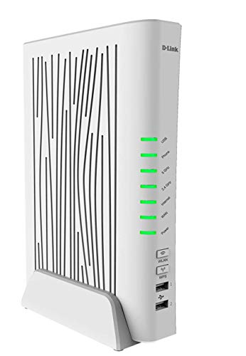 D-Link DVA-5593 Modem Router VoIP, Wi-Fi AC2200, Dual Band, 4 Porte LAN + 1 Porta WAN Gigabit, USB 3.0, EVDSL, Compatibile Fibra, FTTC/FTTH, Porta SFP per Terminazione Ottica