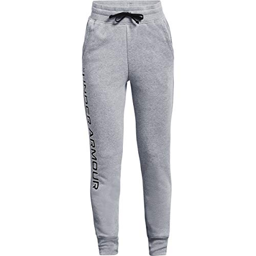 Under Armour Girls' Rival Fleece Joggers , Steel Light Heather (036)/Black , Youth X-Small