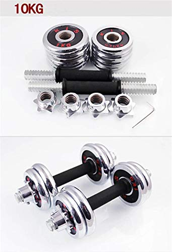 10kg Electroplate Dumbbells Set Weights for Fitness Weightlifting Crossfit quipment Barbell Gym Muscle Strength Exercise,10KG