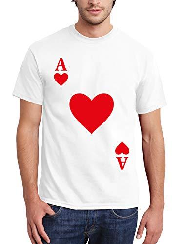 clothinx Herren T-Shirt Karneval & Fasching Spielkarte Herz Ass Kostüm Weiß Größe 3XL