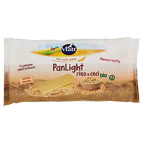 PanLight Riso e Ceci bio, Croccanti Sfogliatine di Riso e Ceci Senza Lievito, Vegan Ok - 5 Confezioni da 150 gr