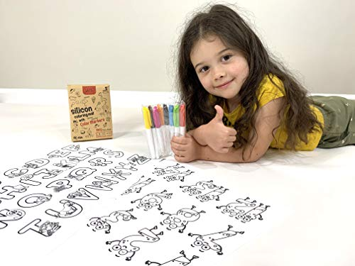 Lulette Silicone Kids Placemats – 2 Drawing Pad and Coloring Mats with Alphabet and Numbers – 8 Different Colored Washable Markers – Safe and Non-Toxic Toddler Placemats– Easy to Clean