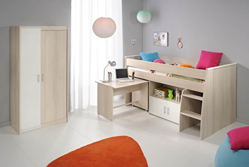 Parisot Hochbett Set Charly 5 mit Schreibtisch, Kommode und Schrank